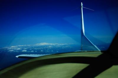 大垣市上空から白山を振り返る