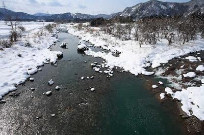 手取川と大日川の合流点