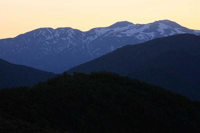 <br /> 法恩寺山で見た夜明け前の白山
