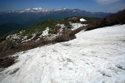 赤兎山山頂付近から見た白山