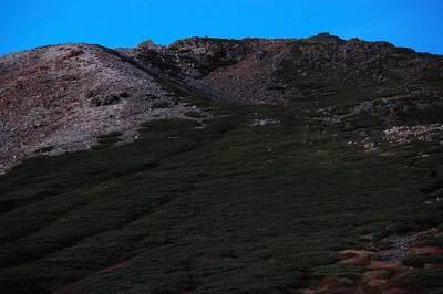弥陀ヶ原から見た御前峰 日没後