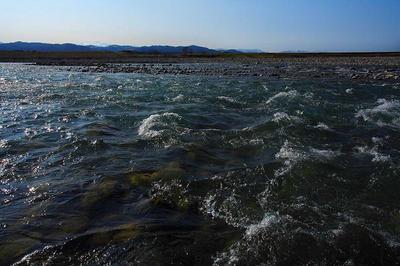 早春の川原
